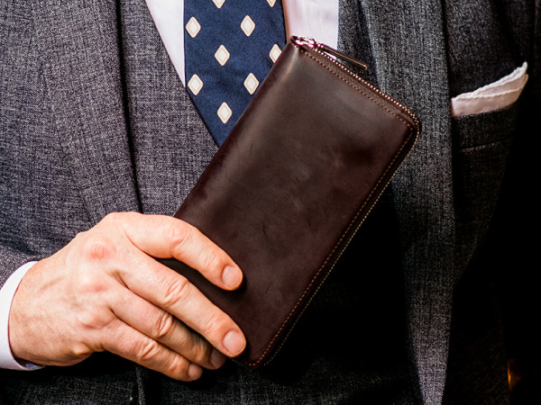 蝋引きコードバン財布